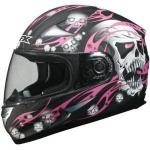 AFX Women's Motorcycle Pink Helmet | Full Face w/ Skull Decal FX-90