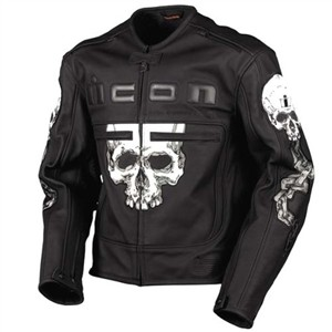 Icon Skull Black Leather Jacket
