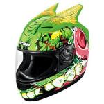 Icon Alliance Cretin Helmet, Green w/ Monster Graphic | Polycarbonate SSR Speed
