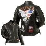 Diamond Plate Ladies Rock Motorcycle Jacket | Buffalo Leather, Laced w/ Black Nehru Collar