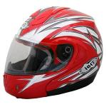 THH Red Silver Motorcycle Helmet | Modular Flip Up ABS Polycarbonate DOT & ECE