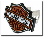 Harley-Davidson Hitch Plug | Aluminum Orange & Black Shield Logo by PlastiColor