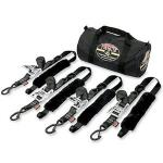 Powertye Fat Strap Motorcycle Tie Down Kit | Trailer or Truck Bed Bike Transport, Black